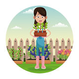 Farmer pot plant work garden fence. Illustration eps 10 Royalty Free Stock Image