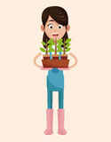 Farmer pot plant work. Illustration eps 10 Stock Photos