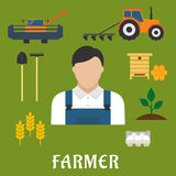 Farmer profession and agriculture flat icons. Of shovel, rake, combine, tractor with plough, beehive with honeycomb, eggs, ripe wheat ears, green plant and man Royalty Free Stock Images