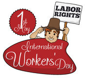 Farmer Promoting Labor Rights in Workers' Day, Vector Illustration Royalty Free Stock Photos