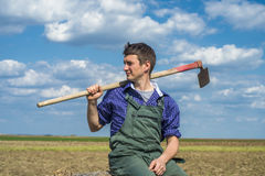 Farmer. Proud farmer in a field Stock Image
