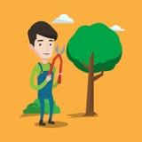 Farmer with pruner in garden vector illustration. Stock Photo