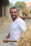 Farmer removing hay Royalty Free Stock Photo