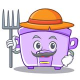 Farmer rice cooker character cartoon Royalty Free Stock Images