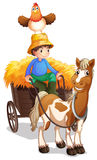A farmer riding a cart with a chicken above his head Royalty Free Stock Image
