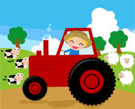 a farmer riding a tractor working in his farm Stock Photography