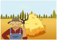 Farmer on rural background. A farmer on rural background. haystack on the field. vector Royalty Free Stock Photos