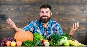 Farmer rustic style guy. Natural foods. Vegetarian lifestyle concept. Man bearded farmer harvest wooden background stock images