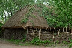 Farmer's barn under the thatch roof in open air museum, Kiev, Ukraine Royalty Free Stock Images