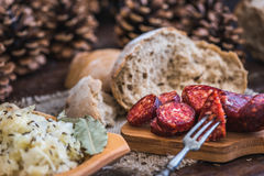 Farmer`s Breakfast, Sausage and Sour Cabbage. Stock Photos