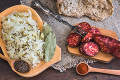 Farmer`s Breakfast, Sausage and Sour Cabbage. Stock Photography