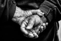 Farmer's Hands of old man who had worked hard Stock Images