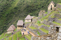 Farmer's houses and terraces  of Machu Picchu Stock Image