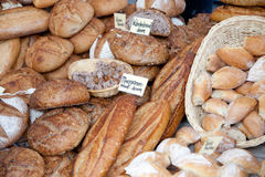 Farmer's market. Freshly baked bread at farmer's market (on signs is the type of bread, no brandnames Stock Photography