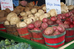 The Farmer's Market. An array of potatoes are sold at the farmer's market Royalty Free Stock Photo