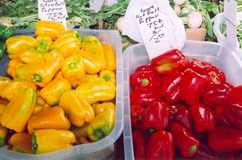Farmer's Market. Red and yellow peppers with onions stock photo