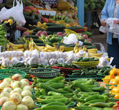 Farmer's market. Colorful display of fruits and veggies at a farmer's market royalty free stock images