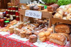 Farmer's Market. Baked goods and homemade preserves and jams at a farmer's market Royalty Free Stock Photography