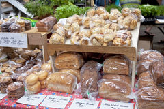 Farmer's Market Bake Sale. Various types of bread and other baked goods at a farmers market bake sale Stock Photo