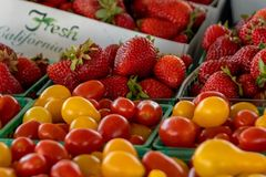 Farmer's Market: California Berries & Tomatoes Royalty Free Stock Photography