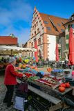 Farmer`s market in Freiburg royalty free stock image