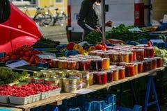 Farmer`s market in Freiburg stock photography
