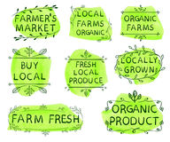 Farmer`s market, local farms organic, organic farms, buy local, fresh local produce, locally grown, farm fresh, organic. Product. Set of VECTOR icons on yellow Royalty Free Stock Photo