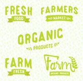 Farmer`s market logos templates vector objects set. royalty free illustration