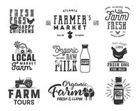 Farmer s Market, organic food, milk and eggs badges set. Fresh and Local product logo designs. Typographic eco farm. Insignia in monochrome style. Isolated on Royalty Free Stock Photo
