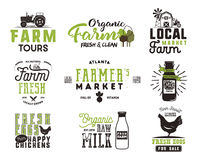 Farmer s Market, organic food, milk and eggs badges set. Fresh and Local product logo designs. Typographic eco farm. Insignia in black and green style. Isolated Stock Photos