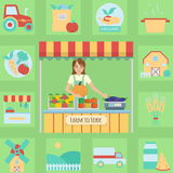 Farmer's market stall illustration and icon set Stock Image