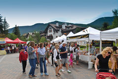 Farmer's market in Vail, Colorado. Vail, Colorado is a popular resort town in the United States. It's known for it's skiing in the winter time, and for abundant royalty free stock image