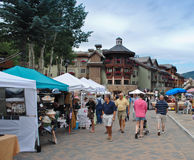 Farmer's market in Vail, Colorado. Vail, Colorado is a popular resort town in the United States. It's known for it's skiing in the winter time, and for abundant Royalty Free Stock Photo