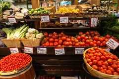 Farmer's Market. Variety of fruits and vegetables at a local farmer's market Stock Photo
