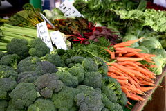 Farmer's Market Veggies. Vegetable table at the Farmer's Market in Santa Monica, CA. Local CA grower stock image