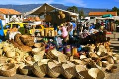 Farmer´s market, Villa de Leyva, Colombia. Baskets at the traditional saturday market in the colonial town of Villa de Leyva, Colombia Royalty Free Stock Photos