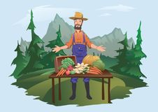 Farmer`s market, village fair. A man standing behind a counter with vegetables grown on the farm. Isolated vector stock illustration