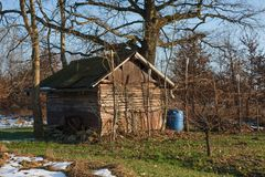 A farmer`s shed of tools. In winter Royalty Free Stock Photos