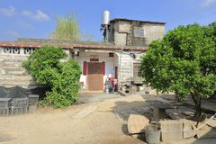 Farmer`s stone house in zhaojiabao village, adobe rgb Royalty Free Stock Image