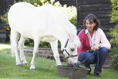 Farmer's Wife Feeding Pony Royalty Free Stock Images