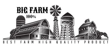 Free Farmer`s Windmill, Barn And Farm Building Retro Style Vintage Label Royalty Free Stock Image - 144260426
