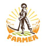A farmer with a scythe in a field. Farmer emblem Stock Image