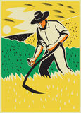 Farmer With Scythe Harvesting  Field Retro Stock Photo