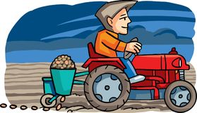 Farmer seeding crop. Vector illustration. Farmer seeding the crop in the field, with the tractor Royalty Free Stock Photos