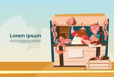 Farmer Sell Pork Meat Products On Eco Farm Organic Market Royalty Free Stock Images