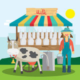 Farmer selling milk products in local market. Woman produce shop Royalty Free Stock Photo
