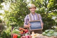 Farmer selling organic veg at market Stock Image