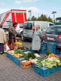 Farmer selling vegetables of her own production on a Belgian market. Stock Images