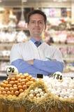 Farmer sells eggs Stock Photo