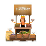 A farmer sells fresh vegetables from his garden. Vector illustra Stock Image